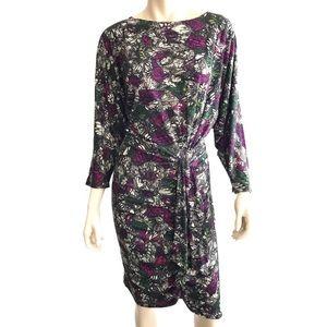 Weston Wear floral dolman drape faux wrap dress